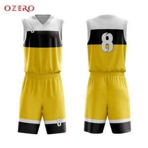 Mẫu quần áo bóng rổ thiết kế màu vàng Hải Phòng ABR12