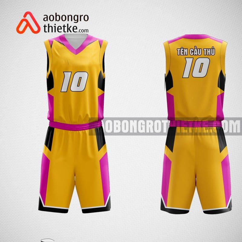 Mẫu đồng phục bóng rổ thiết kế màu cam hồng ABR59