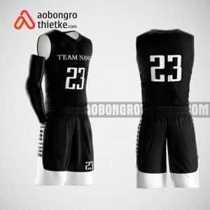 Mẫu đồng phục bóng rổ thiết kế màu đen black white ABR50