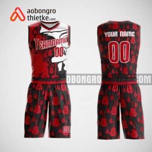 Mẫu đồng phục bóng rổ thiết kế màu đỏ herd red ABR43
