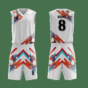 Mẫu đồng phục bóng rổ thiết kế màu trắng ABR33