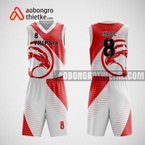 Mẫu đồng phục bóng rổ thiết kế màu trắng WHITE RED ABR30