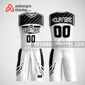 Mẫu đồng phục bóng rổ thiết kế màu trắng mix đen ABR60