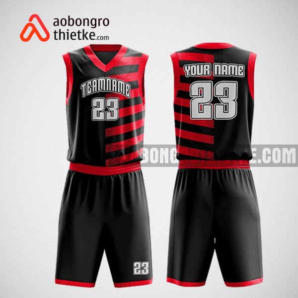 Mẫu quần áo bóng rổ thiết kế màu đen đỏ black lion ABR178