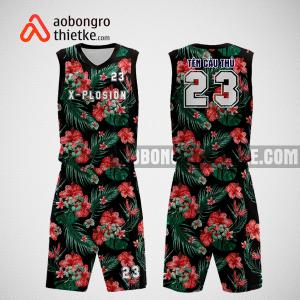 Mẫu quần áo bóng rổ thiết kế màu đen flowerABR266
