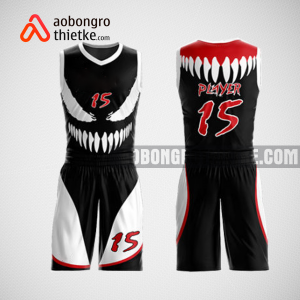 Mẫu quần áo bóng rổ thiết kế màu đen trắng anime ABR136