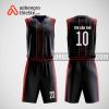 Mẫu quần áo bóng rổ thiết kế màu tím than đỏ RED ABR92