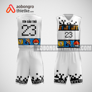 Mẫu quần áo bóng rổ thiết kế màu trắng đen Mario ABR117