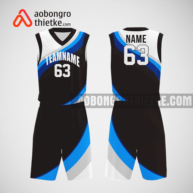 Mẫu quần áo bóng rổ thiết kế màu trắng đen xanh jason ABR249