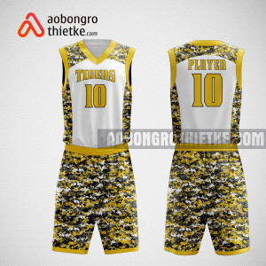 Mẫu quần áo bóng rổ thiết kế màu trắng vàng Tiger ABR76