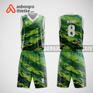 Mẫu quần áo bóng rổ thiết kế màu trắng xanh GREEN ABR74
