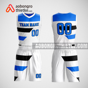Mẫu quần áo bóng rổ thiết kế màu trắng xanh white lion ABR177