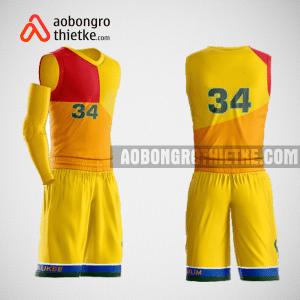 Mẫu quần áo bóng rổ thiết kế màu vàng đỏ yomost ABR137