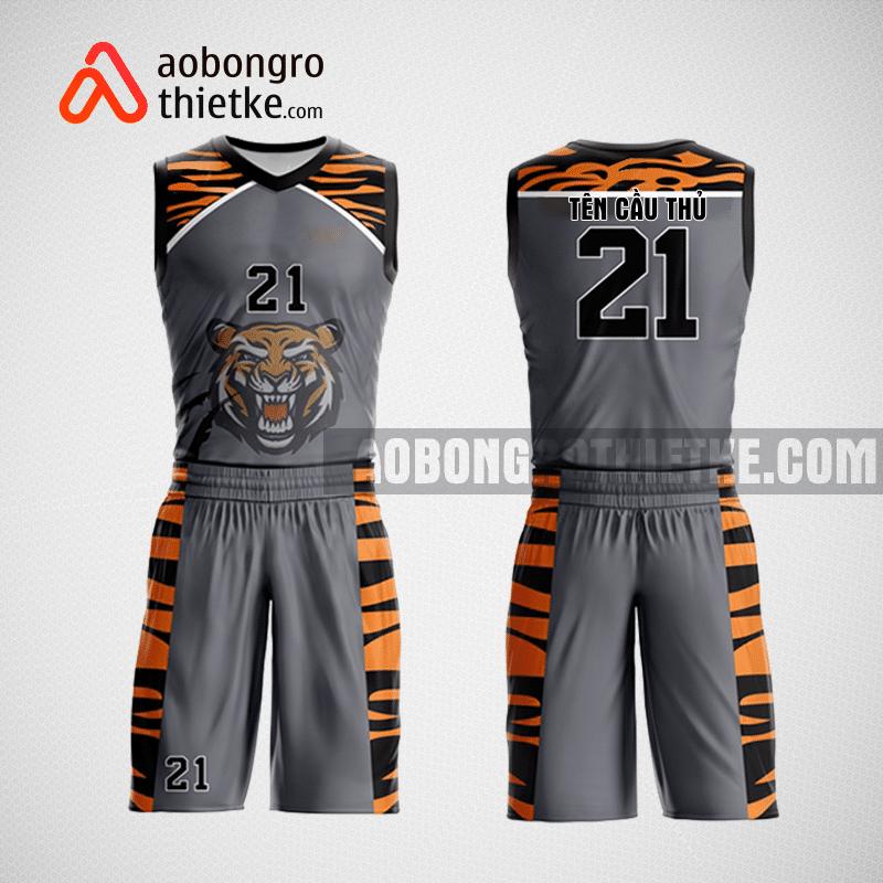 Mẫu quần áo bóng rổ thiết kế màu xám đen tiger ABR204