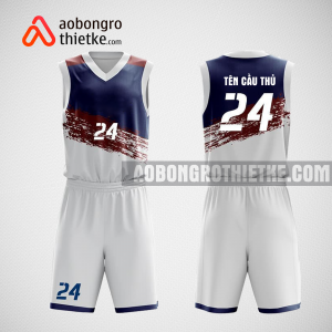 Mẫu quần áo bóng rổ thiết kế màu xanh trắng WORLDS ABR112