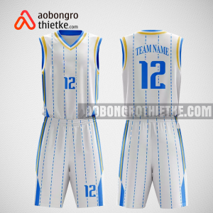 Mẫu quần áo bóng rổ thiết kế tại trắng xanh white ABR374