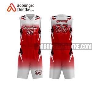Mẫu quần áo bóng rổ Chuyên Hoá ĐH QG Hà Nội màu đỏ in nhanh ABR716