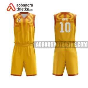 Mẫu quần áo bóng rổ Đại học Nha Trang màu vàng in nhanh ABR641
