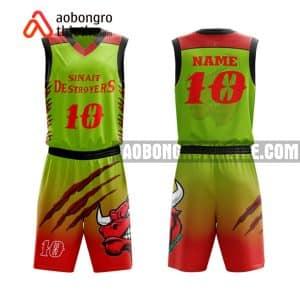 Mẫu quần áo bóng rổ THPT Nghĩa Hưng B màu xanh lá yêu thích nhất ABR893